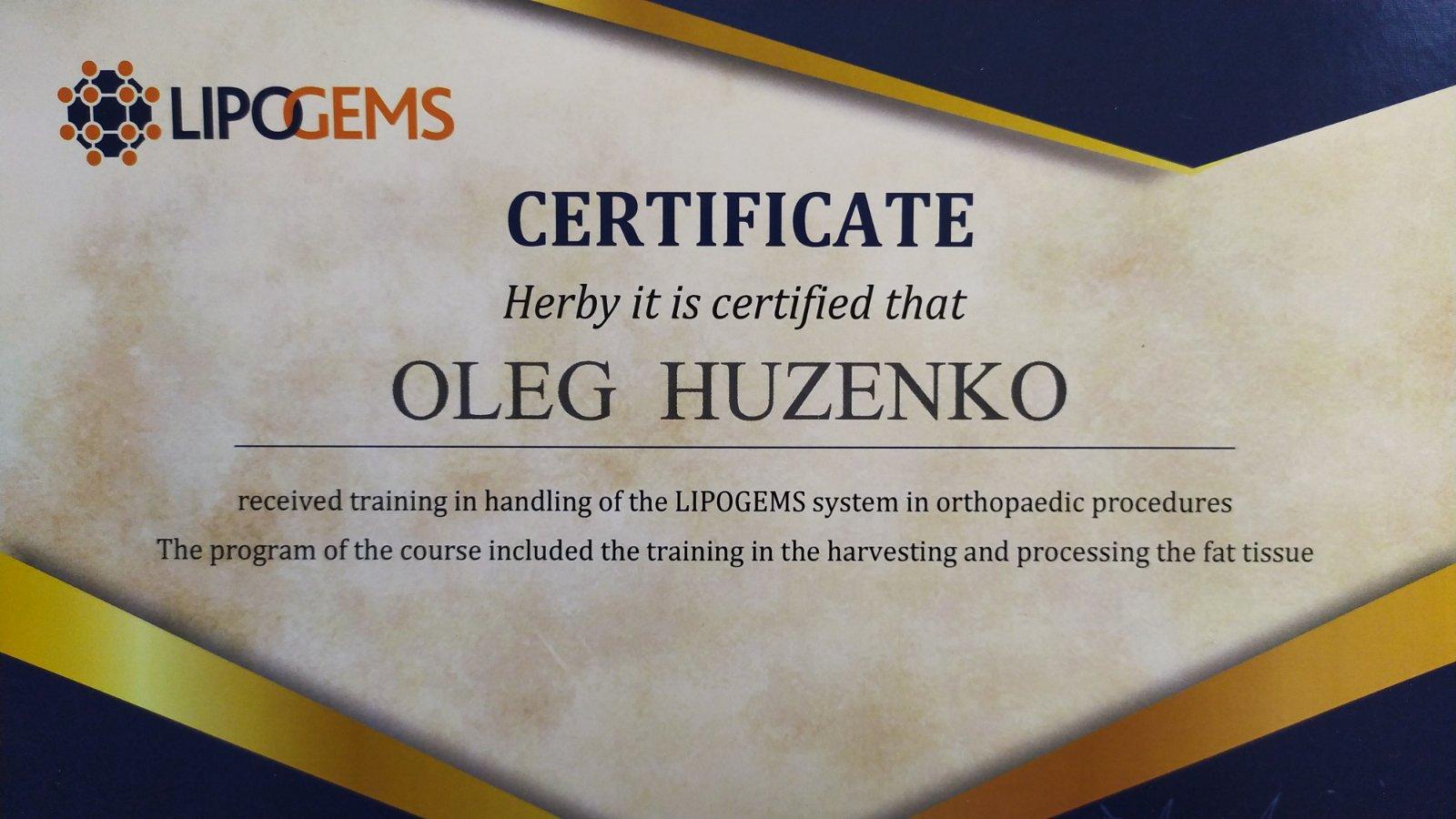 олег гузенко сертификат одесса oleg huzenko certificate odessa
